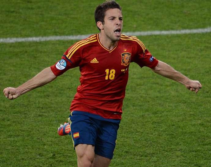 Spanish defender Jordi Alba celebrates a